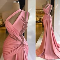2021 Pink Designer Satin Prom Dresses One Shoulder Sleeveless Beaded Custom Made Plus Size Ruched Pleats Sweep Train Evening Party Gowns vestidos