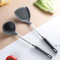 Utensili di cucina in silicone Turners Spatola zuppa cucchiaio in acciaio inox maniglia resistente al calore Pan Turner Scovello Scoop Strumenti da cucina EWF6559
