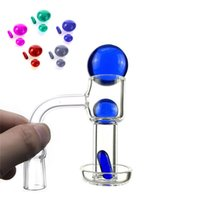 20mm OD Quartz Terp Slurper Banger Smoking Nail with 2mm Thick Domeless Spin Vacuum Nails with Ball carb cap Smokin for Glass Water Bongs
