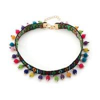 Frauen Böhmische Chokers Halsketten Ethnische Stil Stickerei Süßigkeiten Farben Pompom Anhänger Halsketten Strand Urlaub Schmuck Zubehör 160 J2