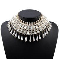 Florosy Chunky Bead Statement Teardrop Pendant Simulated Pearl Choker Necklace for Women Gold Color Chain Collar Necklace J0510