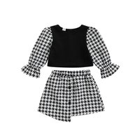 Clothing Sets 0-3Y Fashion Toddler Baby Kid Girl Skirt Set Long Sleeve Patchwork Top Plaid Outfits Children Girls Costumes