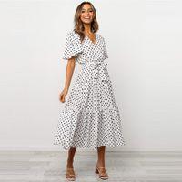 여성 드레스 Pleated V-Neck 폴카 도트 짧은 소매 드레스 봄과 가을 여성 의류 섹시한