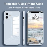 Tempered Glass Phone Case For iPhone 12 11 Pro Max 12 Mini X XS Max Cover For iPhone XR 8 7 6s 6 Plus SE 2020 Soft Frame Case Q0511