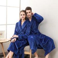 Women's Sleepwear Autumn Winter Thickened Flannel Velvet Couple Nightgown Men And Women Lengthened Plus Size Belt Bathrobe Pyjama
