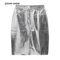 Jupes ZJoan Show 2021 Femmes Retour Fente Forfait HIPS Jupe en métal Brillant Métal Argent Highstreet Highstreet High Split Ourk Pockets Femme