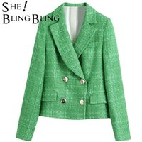 Swebling Simple Vert Tweed Tweed Notched Blazers aménagés à double boutonnage Femme Angleterre Style Poches Courts Courts Cuissons Femmes