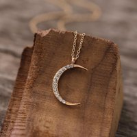 Pendant Necklaces 2021 Simple Design Gold Plated Star Moon Sun Necklace Fashion Women's Zircon For Women Nightclub Jewelry
