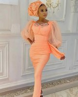 Aso Ebi Style Coral Mermaid Evening Dresses For Arabic Women With Sheer Long Sleeves Formal Prom Party Gowns Vestidos De Novia