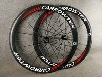 화이트 레드 로고 700C 3K 광택 50mm 캡터 카본 도로 자전거 바퀴 23mm 너비 블랙 Novatec A271 허브 11 속도