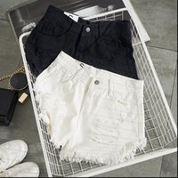 Fashion Summer White Denim Sexy Womens Shorts Hole Ripped Mini Jeans Streetwear Tassel High Waist
