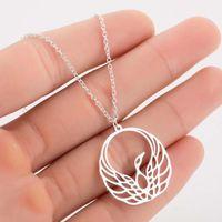 Colar de pavão oco de aço inoxidável moda feminina feminina clavícula cadeia pingente colares