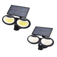 LED Solar Wall Lamps Rotatable 3 Modes PIR Motion LED Lights Double Head Path Garden Outdoor Solar Light In Stock