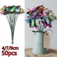 Decorative Flowers & Wreaths 50PCS Butterfly Stakes Outdoor Yard Planter Flower Pot Bed Garden Decor Art For Gardens, Beds, Plants