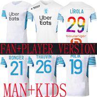 Marseille Away Soccer Jerseys olympique de 21 22 om Spécial 2021 2022 Version du joueur de pied de maillot Thaufin Benedetto Kamara Payet Football Shirts Hommes + Kids