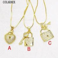 8Pcs Lock Shape Pendant Necklace Fashion Gold Jewelry Slim Chain 8380 Chains