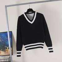 2021 Frauenpullover Lässig Strick Kontrastfarbe Langarm Herbst Mode Wear Klassische Damen Pullover Designer Luxus Kleidung