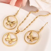 Earrings & Necklace Gold Color Round Butterfly Pendant Elegant Jewerly Set For Women High Quality Dubai Arab African Jewelry