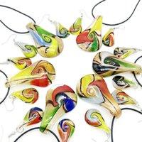 Brincos colar 6 conjuntos de lampwork vidro Murano Leardrop pingente mistura cores iluminação jóias conjunto, fash