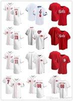 """Пользовательские мужские женские женщины Молодежь Cincinnati """"Reds"""" 5 Джонни скамейка 19 Джои Вольта 7 Евгений Суарес 11 Барри Ларкин бейсбол"""