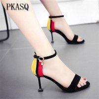 Dress Shoes Pksaq Female Fashion Sexy Hollow with Sandals Summer Versione coreana traspirante Donne Pompe con tacco alto Heel Wedding 6-10cm