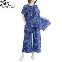 Femmes Femmes Summer 2 pièces Ensemble de coton Confort imprimé Plus Taille TrackSuit Loable Pantalon de jambe large Femme costume 1128 Deux robe