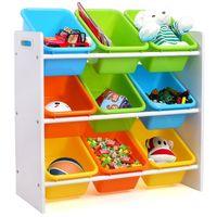 Organisateur de stockage de jouets de Toddler 9 Tiroir à étagères en plastique de couleur multiple avec poignées pour la salle de jeux de chambre à coucher de l'enfant, Rack blanc