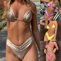 Women's Swimwear 2Pcs Women Bikini Set Sexy Backless Padded Push Up Bra Thong Briefs Bikinis Two Piece Swimsuit 2021