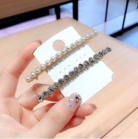 Fashionable and simple pearl hairpin spring clip back head horizontal clip elegant Korean style bangs clip side top c female