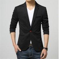 Mens Korean Slim Fit Fashion Cotton Blazer Suit Jacket Black Blue Beige Plus Size M To 6XL Male Blazers Coat Wedding Dress Men's Suits &