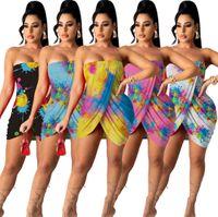 Vêtements de designer 2021 Robes longues décontractées pour femmes pour soutien-gorge d'été enveloppé Jupe d'impression sexy sur l'épaule maxi robe