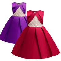 Girls Dresses Kids Clothes Children Clothing Pleated Vest Skirt Princess Christmas Formal Dress Ball Gown B8230
