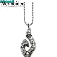 Pendant Necklaces 2021 Maori Hook Pendants Trendy Silver Plated Rebel Fashion Jewelry Gift Heart Men Women Jewellery