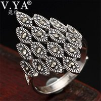 Cluster Rings V.YA Retro Silver Marcasite Ring For Women Adjustable 925 Sterling Lady Femme Fashion Jewelry Wholesale