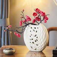 Vase en céramique de style chinois Vase blanc rond décor de salon luxueux moderne maison décoration de bureau de bureau de fleurs séchées
