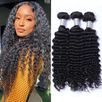 Human Hair Wefts Mongolian Non Remy Deep Wave 3 or 4 Bundles 8-26 inch Natural Color Double Weft