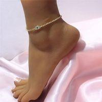 Anklets Hip Hop Rhinestone Chain Blue Evil Eye For Women Boho Tennis Beach Barefoot Sandals Anklet Bracelet Jewelry Baby Girl