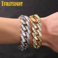 Charm Bracelets Silver Color Mens Bracelet 19mm Baguette Prong Cuban Link Iced Out Bling CZ Jewelry Hip Hop Rock Fashion Gift