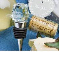2021 Regalos de la puerta de la boda Crystal Rose Wine Bottle Stopper Día de San Valentín Presente Souvenir para huésped 30pcs al por mayor