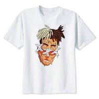 Hombre Hip Hop Xxxtentacion Streetwear Cantante Carácter Impresión T Shirt Harajuku Tops de moda Soporte de rapero 100% algodón camiseta hombres camiseta