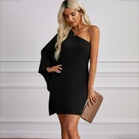 Party Dresses Sexy one side off shoulder tight skirt solid d...