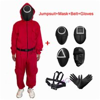 Squid Game Villain Red Jumpsuit Cosplay Costume Halloween Party Round Six Mask Suit For Men Women Kids 211013