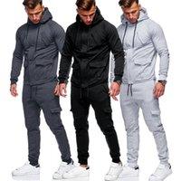 Men's Hoodies & Sweatshirts Zipper Tracksuit Men Set Leisure 2 Pieces Sweatsuit Sweatpants Jacket Pants Sportswear Suit 5261