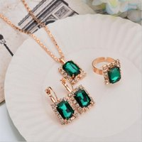 Earrings & Necklace 3pcs set Fashion Gold Color Jewelry Sets For Women Red Blue Green Crystal Pendant Drop Ring Party