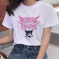 Women's T-Shirt Y2k Cartoon Kawaii Graphic Print Women Harajuku Aesthetic White Tops Tshirt Tee Anime Cute Hip Hop Casual Female T Shirt