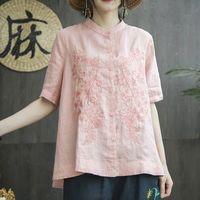 Fje New Summer Style Women Women Shirt Plus Talla de manga corta Bordado Flojo Algodón Lino Blusa Blancas Tops Tops Femme Blusas MGZ2