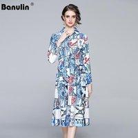Banulin 2021 Frühling Mode Designer Frauen Casual Bogen Schärpen Hemd Kleid Weibliche Langarm Multicolor Blumendruck Runway Kleider