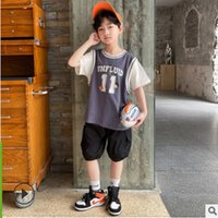 Boys Knee Length Pant Clothing Set 2021 Spring Summer Kids Active Clothes Children's Sets Letter Print 2 Colors Size4-14 ly196