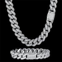 Collane del pendente 100% zircone cz hip hop miami cubano catena di collegamento 14mm baguette braccialetto uomo rhombus collana goccia gioielli nero gioielli moda