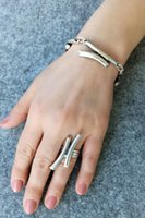 Earrings & Necklace Women's Fashion Jewelry Antique Silver Plated Rods Shaped Handmade Adjustable Ring And Bracelet Sets